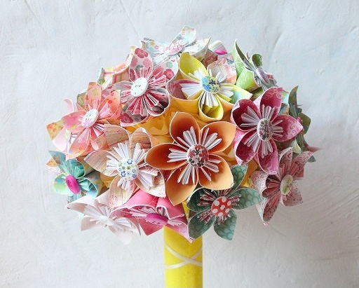 origami bridal bouquet