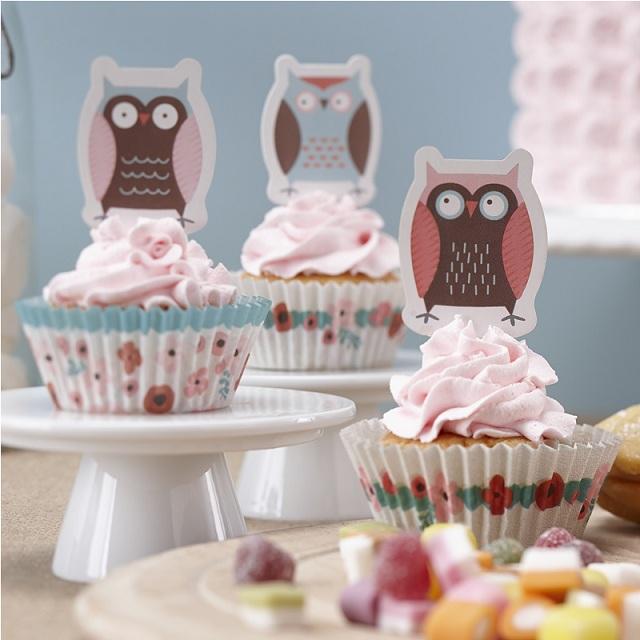cupcake deko set kleine eule. Black Bedroom Furniture Sets. Home Design Ideas