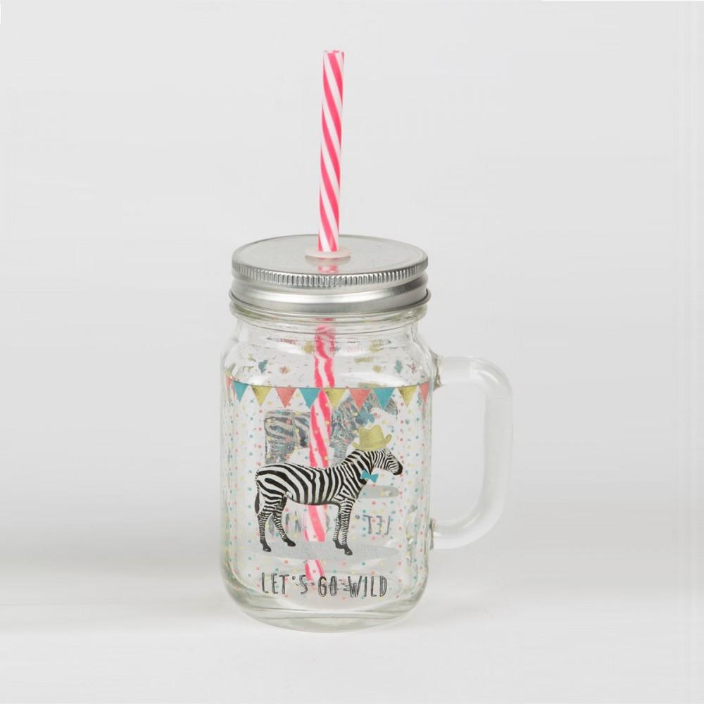 dekofieber online shop trinkglas mit strohhalm zebra. Black Bedroom Furniture Sets. Home Design Ideas