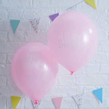Ballons Happy Birthday Pick & Mix - rosa