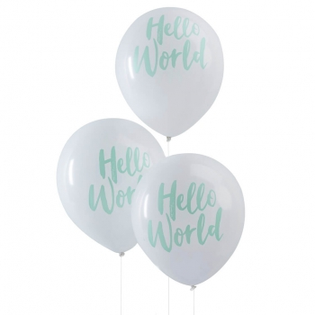 Ballons Hello World - mint/weiß
