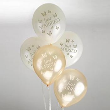 Ballons 8er Pack Just Married Schmetterlinge - Gold/Ivory