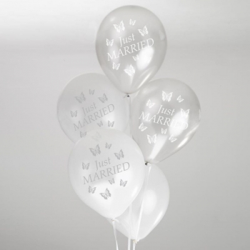 Ballons 8er Pack Just Married Schmetterlinge - Silber/Weiß
