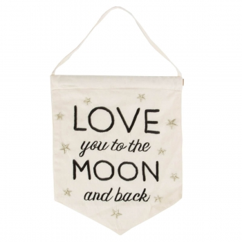 Banner Love You To The Moon And Back - schwarz/weiß