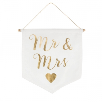 Banner Mr & Mrs - gold/weiß