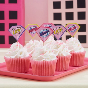 Cupcake Sticks - Superhero Pink