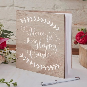 Gästebuch Holz Boho - Advice For The Happy Couple