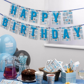 Girlande Happy Birthday - blau/grau