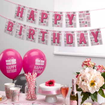 Girlande Happy Birthday - pink/grau