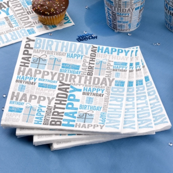 Papierservietten Happy Birthday - blau/grau
