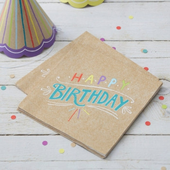 Papierservietten Happy Birthday - Kraftpapier