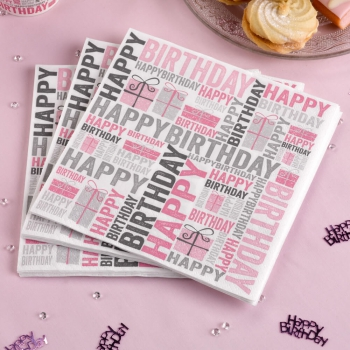 Papierservietten Happy Birthday - pink/grau