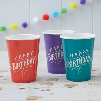 Party Becher Happy Birthday - Kraftpapier