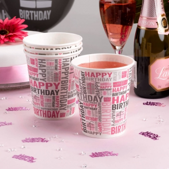 Party Becher Happy Birthday - pink