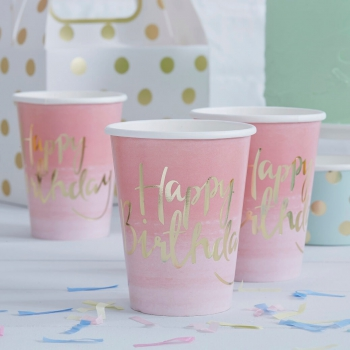 Party Becher Pick And Mix Happy Birthday - gold/pink/ombre