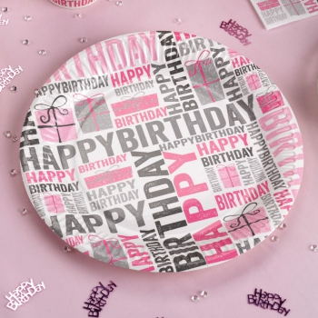 Party Teller Happy Birthday - pink/grau