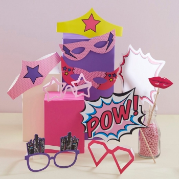 Photobooth Set - Superhero Pink