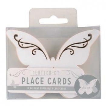 Butterfly Wedding Place Cards in White - Flutter-by