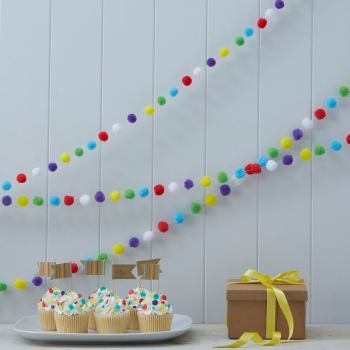 Pompom Girlande Happy Birthday - Kraftpapier