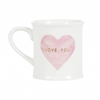 Tasse Herz Love You - gold/rosa/weiß