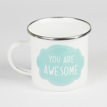 Tasse You Are Awesome Emaille - weiß/blau