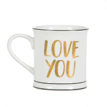 Tasse Love You More Than All The Stars - schwarz/gold/weiß