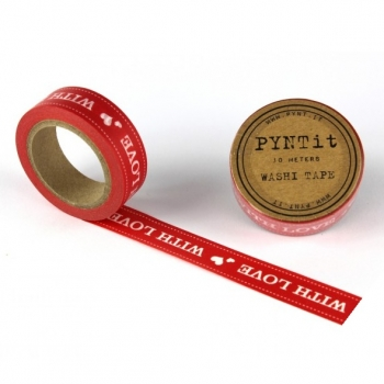 Washi Masking Tape With Love - weiß/rot