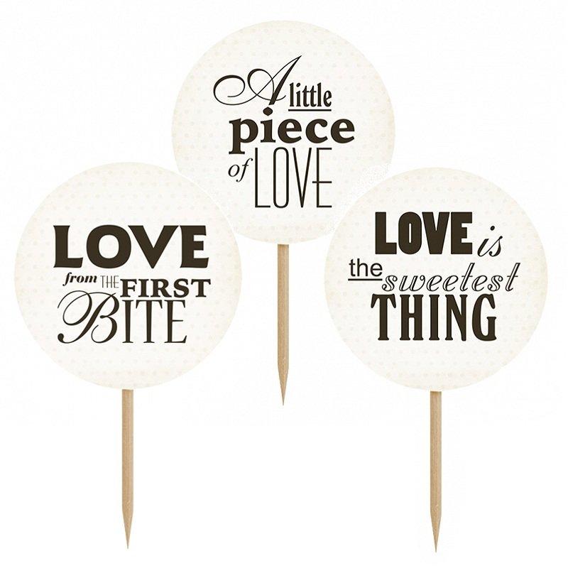 dekofieber online shop cupcake sticks love bite mix schwarz wei. Black Bedroom Furniture Sets. Home Design Ideas