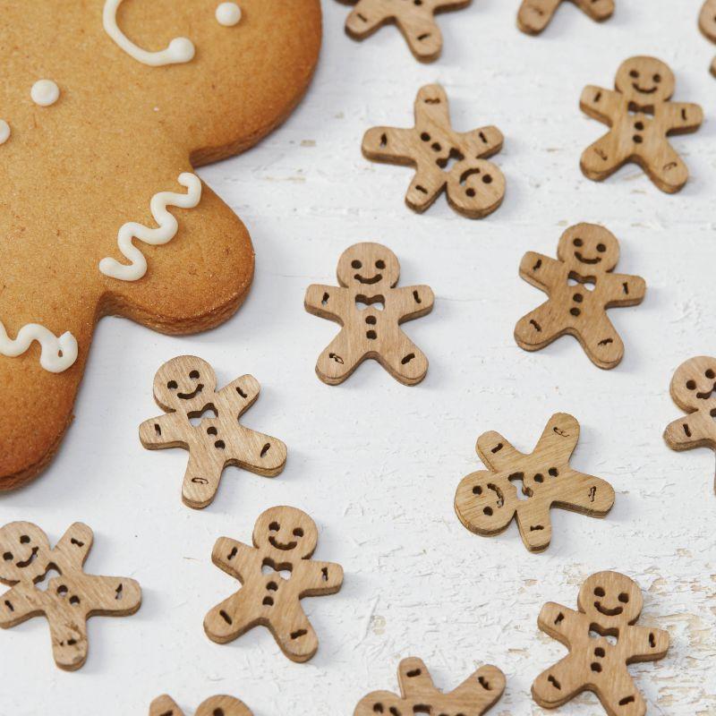 Weihnachtsdeko Lebkuchenmann.Christmas Wooden Gingerbread Men Confetti Vintage Noel