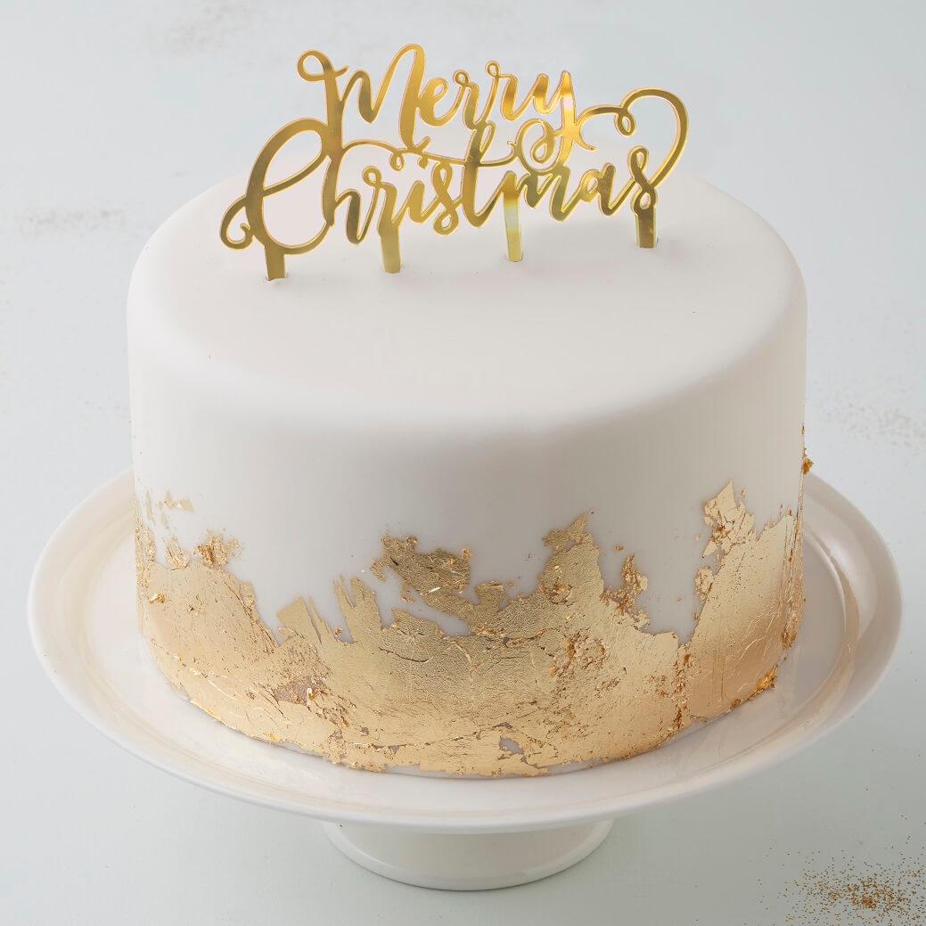 Gold Merry Christmas Cake Topper Metallic Star