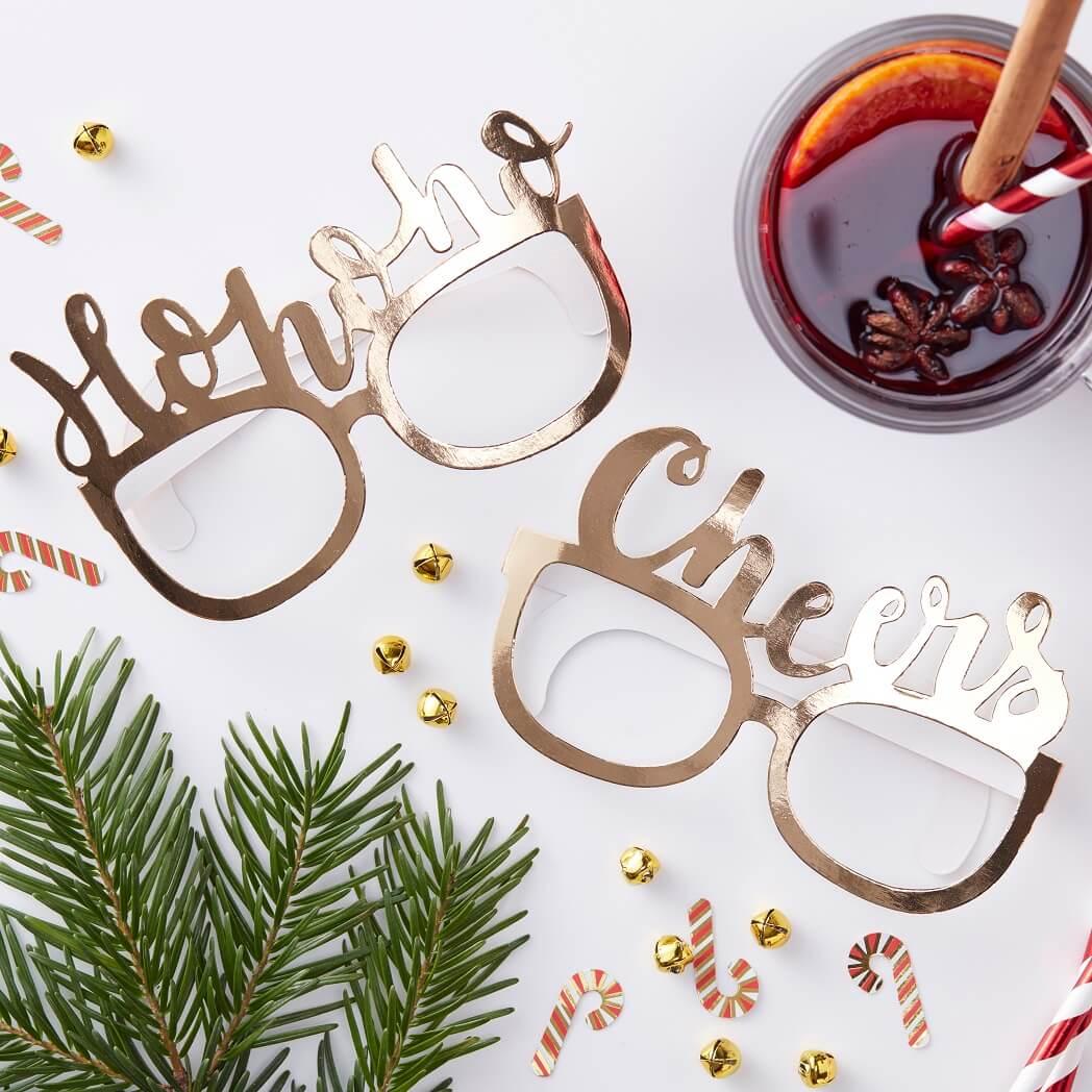 Dekofieber Online Shop - Party Brillen 8er Set Weihnachten - gold ...