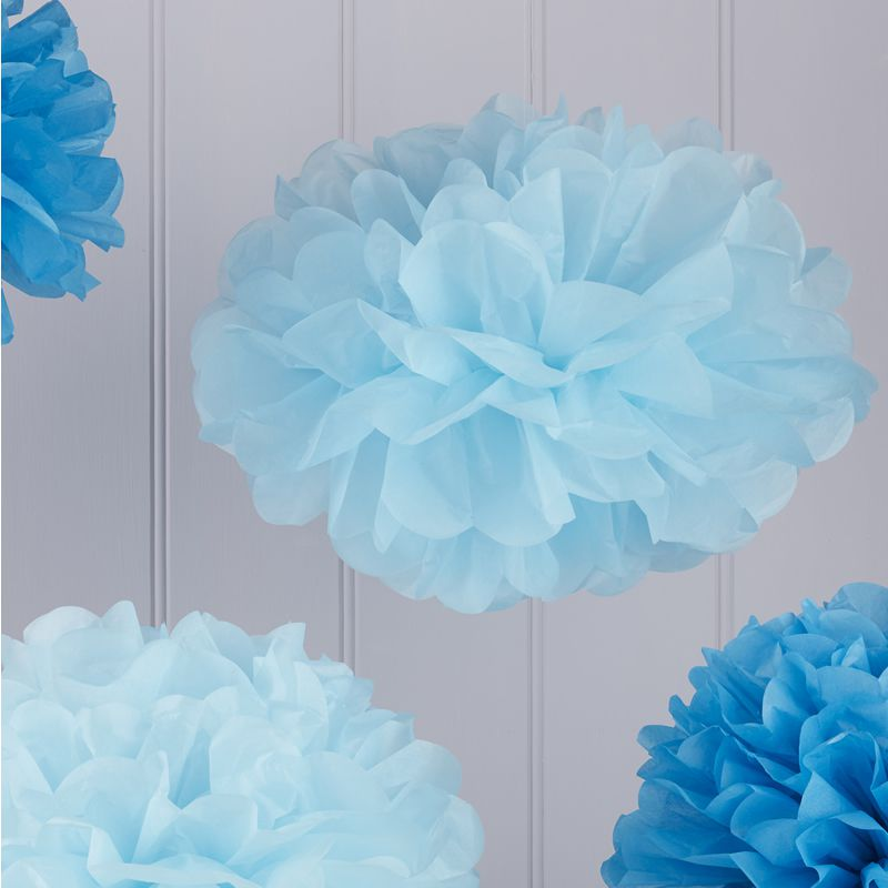 Dekofieber online shop pompom 5er set hellblau blau for Pompoms kinderzimmer