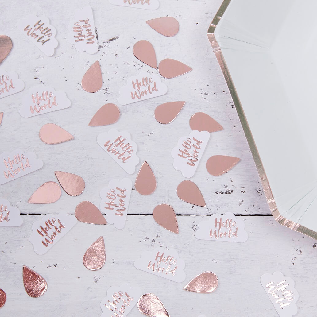 Rose Gold Clouds Table Confetti Hello World