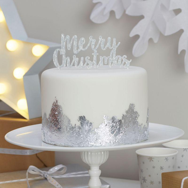 Dekofieber Online Shop - Kuchendeko Weihnachten Merry Christmas - silber