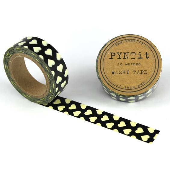 washi masking tape herzen wei schwarz. Black Bedroom Furniture Sets. Home Design Ideas
