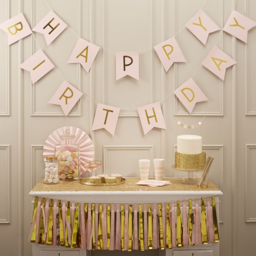 Girlande Happy Birthday Pastel Perfection - gold/rosa