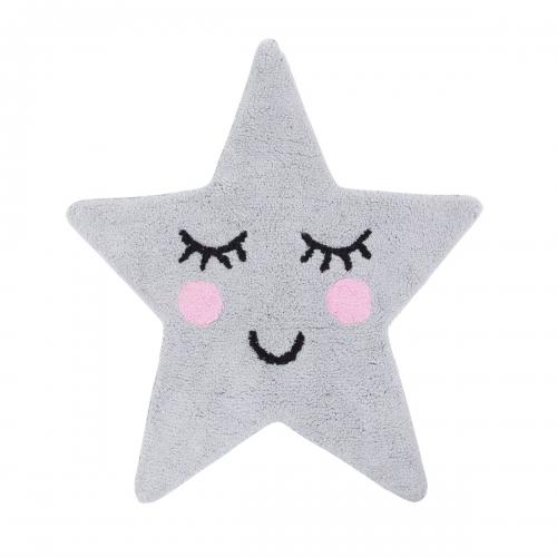 dekofieber online shop teppich vorleger stern grau schwarz rosa. Black Bedroom Furniture Sets. Home Design Ideas